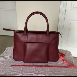 Lancel Leather Tote, color: Burgundy.